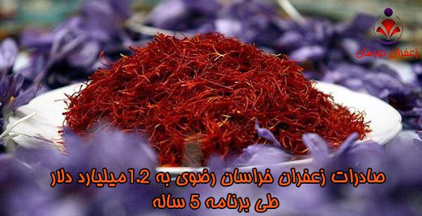 صادرات زعفران خراسان رضوی به 1.2میلیارد دلار طی برنامه 5 ساله
